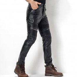 Mens Tight Gothic Black Leather Motorcycle Biker Pencil Pants