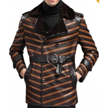 Mens Top Designer Double Breasted Leather Fur Shearling Coat