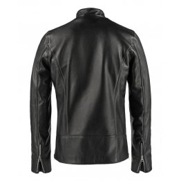 Mens Vintage Fashion Stand Collar Black Leather Jacket