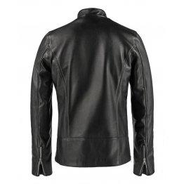 Mens Vintage Fashion Stand Collar Black Leather Jacket