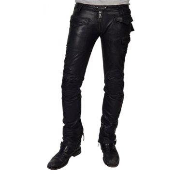Mens Vintage Rocker Look Soft Black Leather Pants