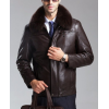 Mens Warm Winter Brand Luxury Brown Leather Fur Coat