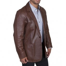 Mens Western Pure Leather Dark Brown Sportcoat Blazer