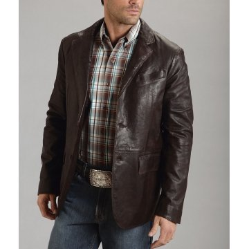 Mens Western Smooth Brown Leather Blazer Jacket