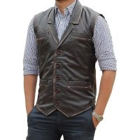 Mens Western Style Genuine Brown Leather Vest