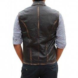 Mens Western Style Genuine Brown Leather Vest