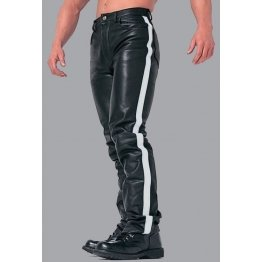 Men's White Stripes Real Black Leather Bikers Pant