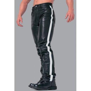 Men's White Stripes Real Black Leather Bikers Pant