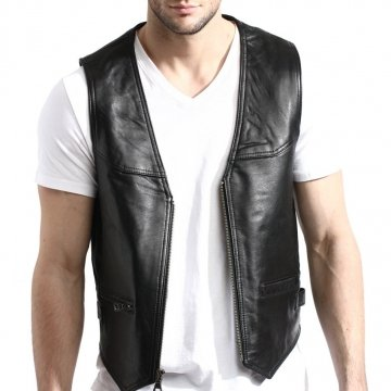 Mens Zip Front Lambskin Black Leather Vest