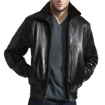 Mens Black Leather Sheepskin Bomber Jacket
