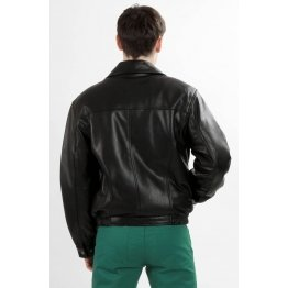 Mens Black Leather Sheepskin Bomber Jacket