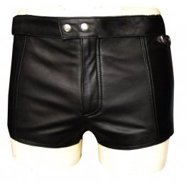 Mens Zipper Fly Front Leather Shorts With Full Lace Back