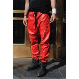 Mens Zipper Seam Detail Red Leather Drop Crotch Harem Joggers Pants