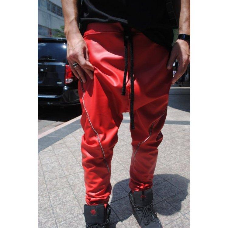 Mens Zipper Seam Detail Red Leather Drop Crotch Harem