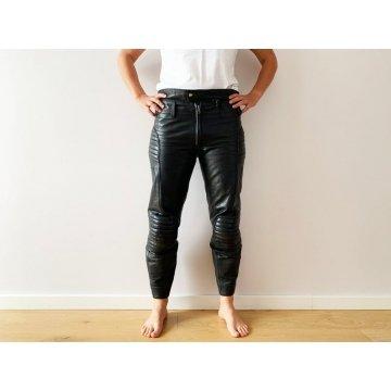 Motorcycle Rockstar High Waisted Genuine Black  Leather Biker Club Pants