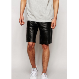 New Designer Pure Black Leather Shorts For Man