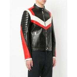 Panelled Colour Block Design Long Sleeves Leather Biker Jacket for Men