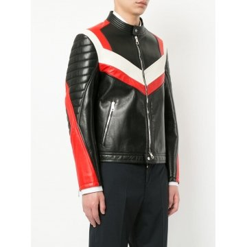 Panelled Colour Block Design Long Sleeves Leather Biker Jacket for Men