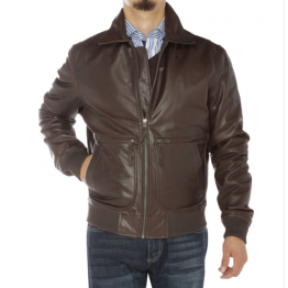 Pure sheepskin Brown Leather Flight Bomber Jacket For Men