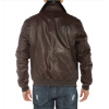 Pure Lambskin Brown Leather Flight Bomber Jacket For Men