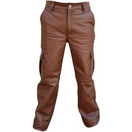 Real Brown Leather Cargo Jeans Pants for Male