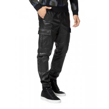 Regular Fit Black Leather Cargo Pants for Men