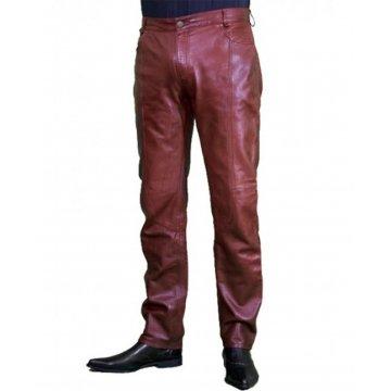 Regular Fit Genuine Burgundy Biker Leather Pants for Men