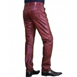 Regular Fit Genuine Burgundy Biker Leather Pants for Men
