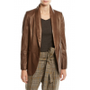 Relaxed Fit Shawl Collar Brown Leather Blazer for Women