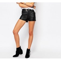 Relaxed Fit Womens Going Out Black Leather Shorts