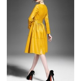 Round Neck Long Sleeve Yellow Leather Dress for Ladies