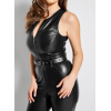 Sandra Zip-Front Belted Waist Real Leather Moto Jumpsuit for Girls