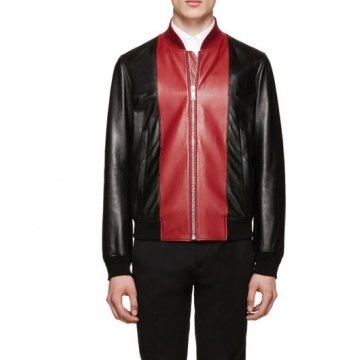 Simple Black and Red Leather Bomber Jacket for Men