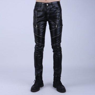 Skinny Slim Fit Black Leather Motorcycle Biker Pants for Guys