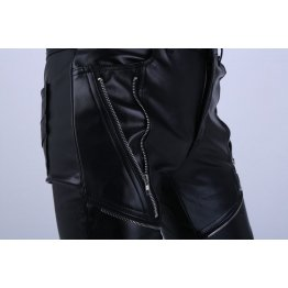 Skinny Slim Fit Black Leather Motorcycle Biker Pants for Guys