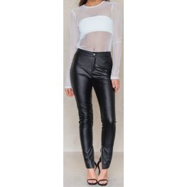 Slim Fit High Rise Button Fastening Real Black Leather Pants for women
