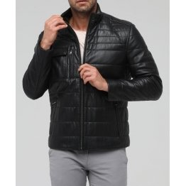 Soft Genuine Black Leather Solid Sporty Jacket for Men
