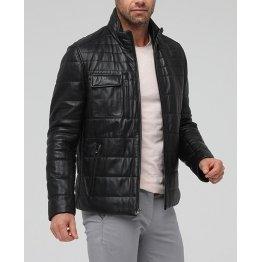 Soft Genuine Black Leather Solid Sporty Jacket for Men