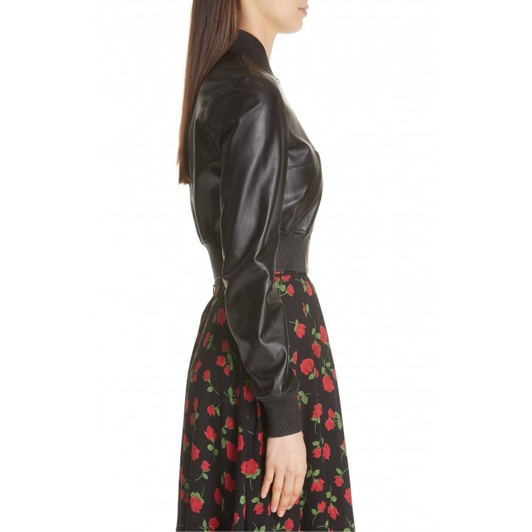 Sport Staple Long Sleeves Black Leather Bomber Jacket For Ladies