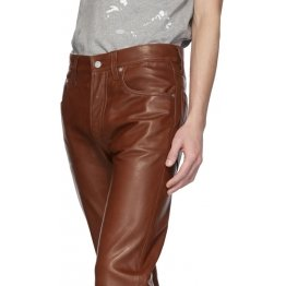 Straight Leg Mid Rise Brown Leather Trousers Pant for Men