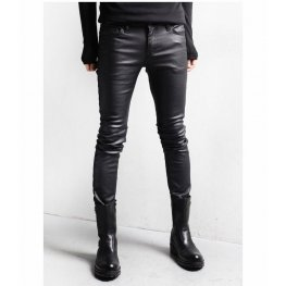 Street Style Black Leather Motorcycle Pants for Men