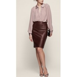 Stretch Panel Brown Leather Body-con Pencil Skirt for Women