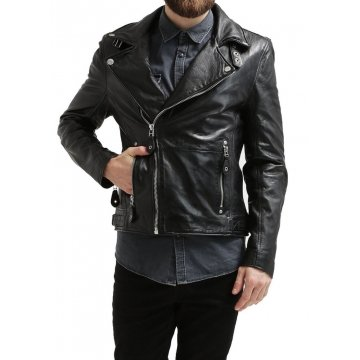 Stylish Hot Black Leather Motorcycle Biker Fashion Jacket