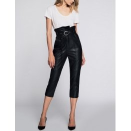 Tailored Fit High Waisted Pure Lambskin Leather Pant for Women
