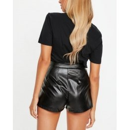 High Waisted Pleated Detailing Real Black Leather Shorts for Women
