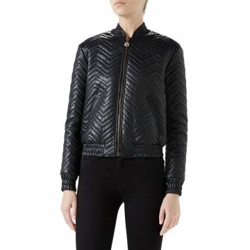 Tiger Zipper Quilted Leather Bomber Jacket for Women