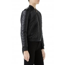 Classic and stylish Quilted Leather Bomber Jacket for Women