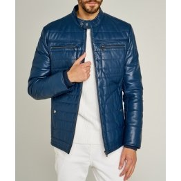 Trendy Mens Striped Stitches Blue Leather Casual Jacket