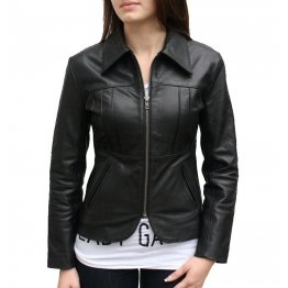 Unique Custom Made Real Lambskin Black Leather Jacket for Women