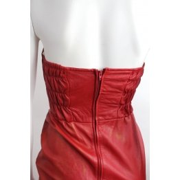 Vintage Red Genuine Leather Party Dress for Women